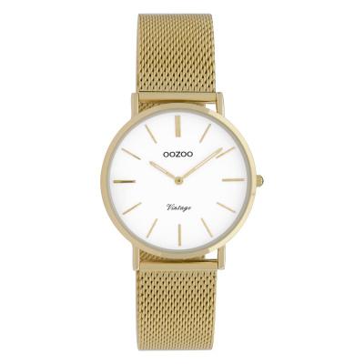 OOZOO Vintage Goudkleurig/Wit horloge C9911 (32 mm)