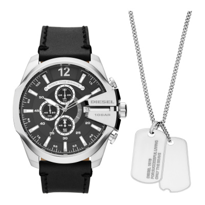 Diesel Mega Chief Horloge en Ketting Giftset DZ4559