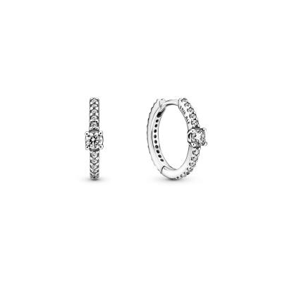 Pandora Timeless 925 Sterling Zilveren Sparkling Hoop Oorbellen 299406C01