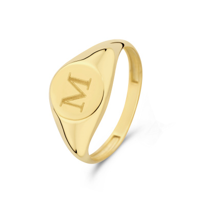 Isabel Bernard Le Marais Lauren 14 Karaat Gouden Initial Ring IB330034M (Letter: M)