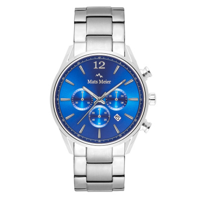 Mats Meier Grand Cornier Chrono Blauw/Zilverkleurig horloge MM00108