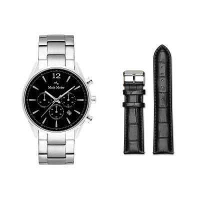 Mats Meier Grand Combin Chronograaf Herenhorloge Zwart Met Horlogeband Giftset MM90021