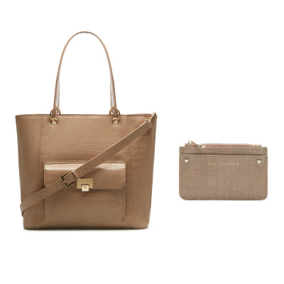 May Sparkle Sparkling Island Taupe Croco Shopper Met Pasjeshouder Giftset MS90025