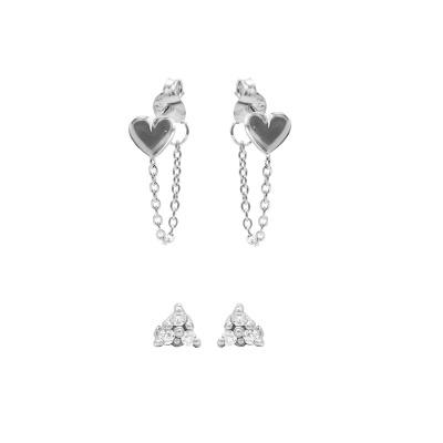 Karma 925 Sterling Zilveren Earparty Chain Heart and Triple Dots Symbols Oorbellen