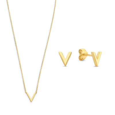 Selected Jewels Selected Gifts 925 sterling zilveren goudkleurige set ketting en oorknoppen SJSET2100896