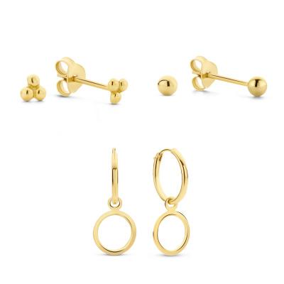 Selected Gifts 925 Sterling Zilveren Goudkleurige Set Oorbellen SJSET380018