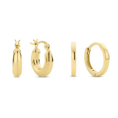 Selected Gifts 925 Sterling Zilveren Goudkleurige Set Oorbellen SJSET380020