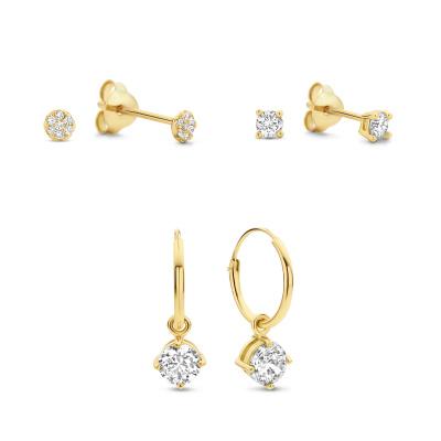 Selected Gifts 925 Sterling Zilveren Goudkleurige Set Oorbellen SJSET380021
