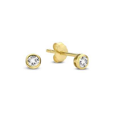 Violet Hamden Venus 925 Sterling Zilveren Goudkleurige Oorstekers Met Geboortesteen VH360019 (JAN-DEC)
